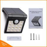 Lampada fissata al muro autoalimentata solare pieghevole del giardino del LED con il sensore di movimento per illuminazione di obbligazione