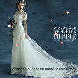 Vintage manches courtes robe de mariée robe de fête de mariage de plage officielle