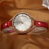 El fabricante de la fábrica del reloj del acero de aleación de la correa de cuero modifica el servicio para requisitos particulares (WY-001D)