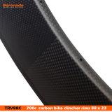 El chino 700c 88 cubierta 23 mm de ancho completo de bicicleta de carrera aro con fibra de carbono de la superficie del freno de basalto