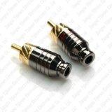 Adaptateur sonore de connecteur mâle de câble de mini fiche de l'or RCA soudant DIY