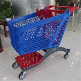 Nouveau design de couleur bleu et rouge plein panier de magasinage en plastique