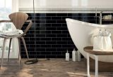 Negro de 4 x 16 pulgadas/10x40cm cristal biselado brillante de la pared cerámica mosaico Metro baño cocina Decoración