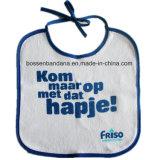 中国の工場農産物のカスタム青いロゴによって印刷される白い綿のテリーの赤ん坊のエプロン胸当て
