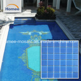 48*48mm de la superficie de textura mosaico Mosaico de vidrio azul piscina mayorista