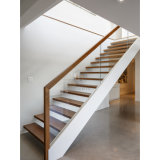 Projeto reto simples moderno das escadas, escadaria de madeira com trilhos de vidro