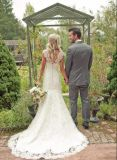 Uma linha de mangas da pac Suite Robes Formal Lace Beach vestido de noiva Yao36