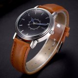 Montre bleue d'hommes d'affaires de logo d'OEM de montre de cuir de quartz de modèle de la flèche indicatrice H305 imperméable à l'eau
