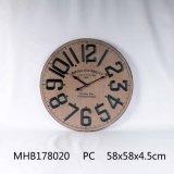 MDF Reloj de pared con números de metal acabado blanco Anqtiue