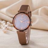 Reloj de manera de lujo de la mujer del regalo de la correa de cuero del OEM del reloj (Wy-123B)