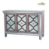 骨董品は2つの引出しの木のコンソールテーブルの家具を映した