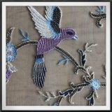 ビードのビーズの刺繍のレースの鳥の刺繍のレースが付いている網の刺繍のレース