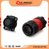 Conector del cable de bayoneta Cnlinko resistente al agua IP65/IP67 Cable de corriente nominal de plástico del conector de 5 brazos