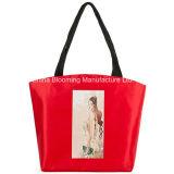 고품질 여행 빨간 여자 핸드백 나일론 어깨 쇼핑 끈달린 가방