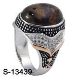 Jóias de prata 925 CZ Ring Anel Homens de pedra do Iémen