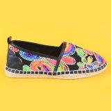 Espadrilles Loafers повелительниц способа цветастые вышитые черные