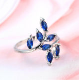 Creative Leaf H 925 Silver Ring with Blue Stone Diamond Drill Bit Engagement Ring