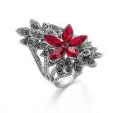 Het Uitstekende Zwarte Bergkristal VAGULA nam de Ring van de Zilveren Vrouwen van de Bloem toe