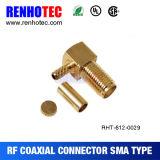 Connecteur femelle à angle droit du sertissage SMA pour le câble Rg174