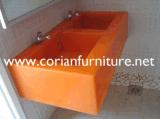 La surface solide acrylique a fait à bassin de salle de bains le bassin commercial de salle de bains