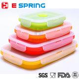 Micro-onde réglée pliable de cadre de déjeuner de silicones de conteneur de nourriture et coffre-fort de lave-vaisselle