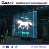 Cor cheia tela de indicador video transparente/vidro/indicador do diodo emissor de luz/painel/sinal/parede/quadro de avisos