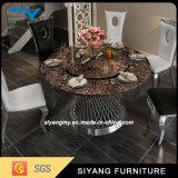 Or Rose de luxe Paiting Table à manger de meubles en acier inoxydable