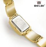 Belbi 여자 스테인리스 사각 로마 숫자 금시계 석영 시계 방수 시계