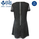Creusement-out Short Sleeve Perspective Inwrought Rear-Zipper robe Slim Motif de fleurs