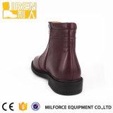 Soft Cow Leather Lining Mulheres militares Botas de tornozelo