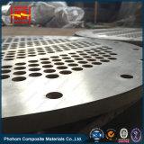Placa de tubos de acero al carbono con bimetálico Revestimiento de titanio para el tubo intercambiador de calor