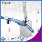 Fyeer Chrom-ursprüngliche bunte Glasschlüssel-Art-einzelne Griff-Badezimmer-Wäsche-Messingbassin-Hahn-Wasser-Mischer-Hahn