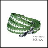 Laisse de chien réfléchie en toile verte verte personnalisée