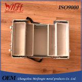 Caisse cosmétique simple d'alliage d'aluminium d'épaule de couche multi