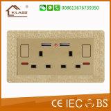 Soquete de parede Reino Unido da potência do USB da alta qualidade 220V