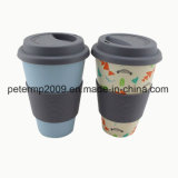 Naturel 14oz/400ml Fibre de bambou tasse tasse Eco Friendly verre avec couvercle en silicone et le support
