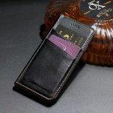 con la cassa di cuoio dell'unità di elaborazione della cassa del telefono della fessura per carta per il iPhone