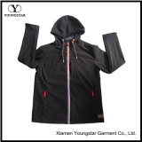 Ys-1065 Black Polar Fleece Impermeável Respirável Mens Softshell Jacket com capuz