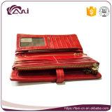 Rojo de alta calidad hecha a mano de aceite de cera piel de cuero de la cartera de las mujeres