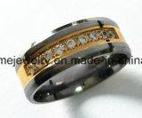 Shineme 9個の石が付いている高いQuliat Titaniumrの金版のリング