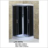 Miroir Black Grey Glass Shower Cabin with Top Shower Douchette à main Six Jets Panneau d'ordinateur