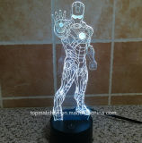 New Colorido Homem de Ferro Decorativo LED 3D Night Lights
