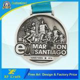 リボンが付いている安いカスタマイズされた金によってめっきされる亜鉛合金の金属メダル