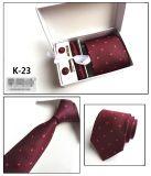 Hanky tessuto Handmade dei gemelli del legame del poliestere di abitudine 100% con la casella impostata (K22/23/24/25)
