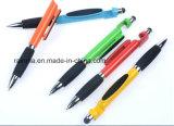 4 dans 1 stylo bille multifonctionnel avec le chiffon d'écran et avec le stand mobile