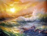 Peinture d'huile d'onde de l'océan - 01