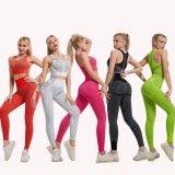 2PCS/Definir sem as mulheres Fitness Yoga Suit Alta Elásticas Workout Sport Definir Estofadas sutiã de desporto de cintura elevada Legging desportivas ginásio
