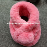 Bufanda caliente de la bola de la piel del conejo del trabajo hecho a mano del mejor invierno para las mujeres de las señoras