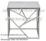 Tabella di estremità moderna e contemporanea dell'acciaio inossidabile con la parte superiore di vetro Tempered