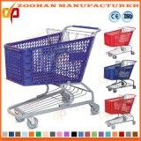 Chariot en plastique coloré de mémoire de chariot à main de supermarché (Zht97)